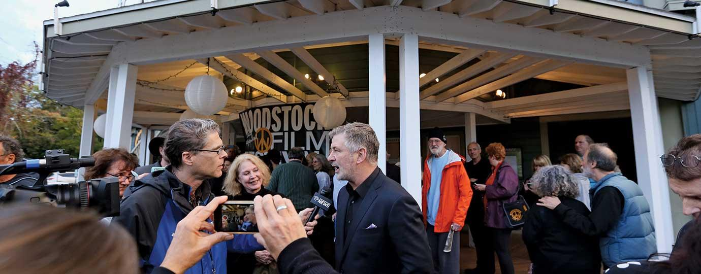 Alec Baldwin is interviewed outside the Woodstock Playhouse before the world premiere of BLIND
